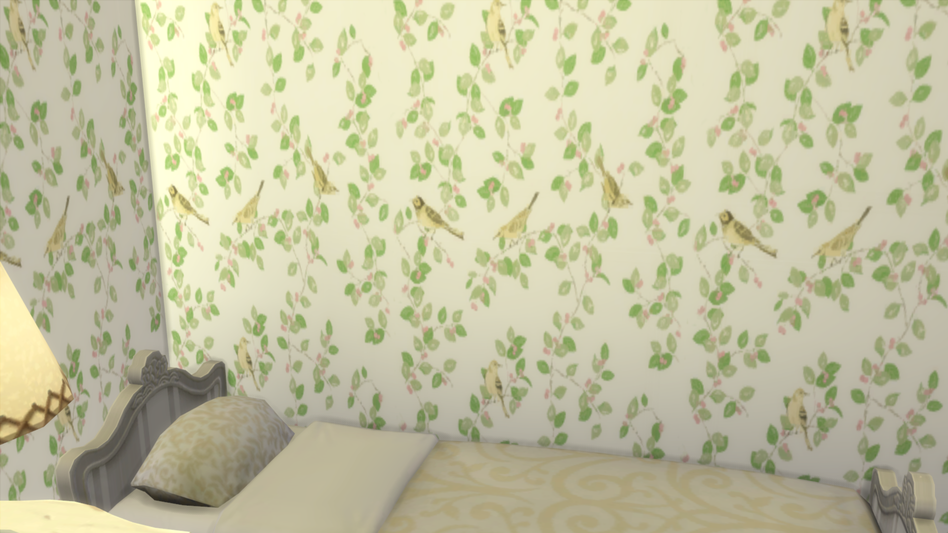 Sims 4 Laura Ashley Green Bird Wallpaper
